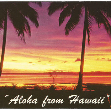 Tropical Sunset Hawaiian Views Vintage Postcard Aloha from Hawaii Rounded Edges 1955 Curteich Postcard