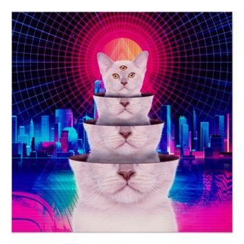 Surreal Three-Eyed Kitten Vintage Retro Punk Style Poster