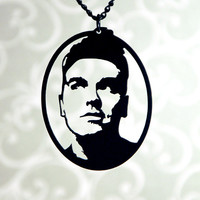 Morrissey homage silhouette necklace, musician portrait pendant in black stainless steel
