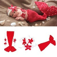 New Newborn Baby Crochet Knit Costume Photography Prop Outfit Mermaid Headband+bra+Tail Pearl Infant = 1714508100