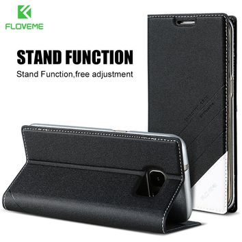 FLOVEME Magnetic Flip Leather Phone Case For Samsung Galaxy S8 S8 Plus S7 S6 Edge Card Slot Cover Accessories Capa Fundas Shells