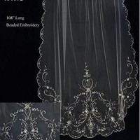 Beaded Pewter Embroidery Cathedral Wedding Veil C214