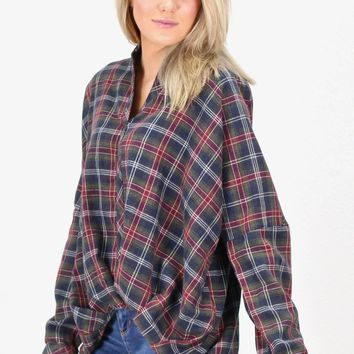 Twisted Hem Plaid Flannel Top {Olive Mix}