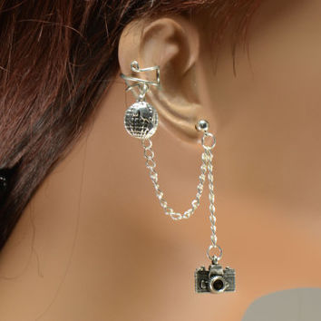 Globe and Camera Silver Chain Ear Cuff World Traveler