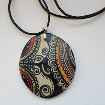 Zentangle Art Hand Painted Pendant, Yoga Hippie Jewelry, Bohemian necklace, Polymer clay jewelry, Hand Made Necklace, Miniature art