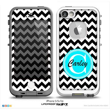 The Black & White Chevron Monogram Name Script Skin Turquoise v1 Skin for the iPhone 5-5s Fre LifeProof Case