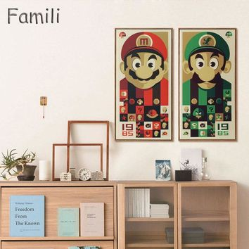 Super Mario party nes switch  Bros Figure Japanese Cartoon Pop Game Retro Art Print Poster Wall Pictures Canvas Painting No Framed Kids Room Decor AT_80_8