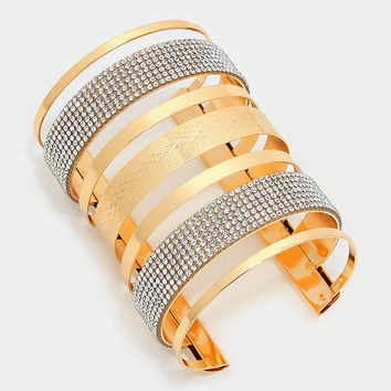 "3.75"" height gold crystal cage cuff bracelet bangle"