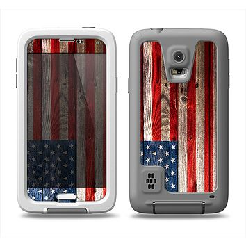 The Wooden Grungy American Flag Samsung Galaxy S5 LifeProof Fre Case Skin Set