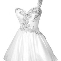 Emma Y 2014 New One-shoulder Short Cocktail Dress Homecoming Gowns-US Size 8 White