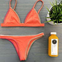 Retro Orange Bikini Set Swimsuit Beach Bathing Suits Summer Gift 217