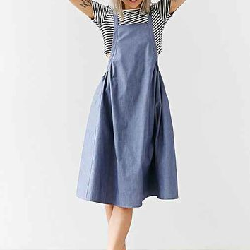 Alice & UO Agnes Apron Midi Dress - Vintage Denim Medium