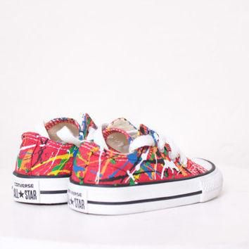 Baby LowTop Splatter Painted Converse Sneakers Infant Size 3, Primary Colors