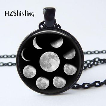 New Arrival Wiccan Pendant Necklace Lunar Cycle Moon