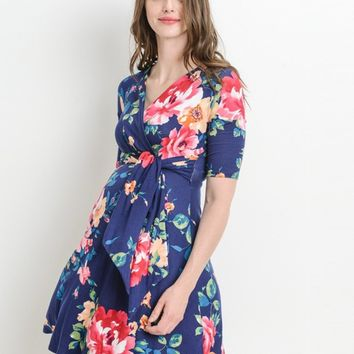 Katie Floral Side Tie Maternity & Nursing Dress