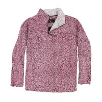 The Original Frosty Tipped Pile 1/2 Zip Pullover in Vintage Wine by True Grit