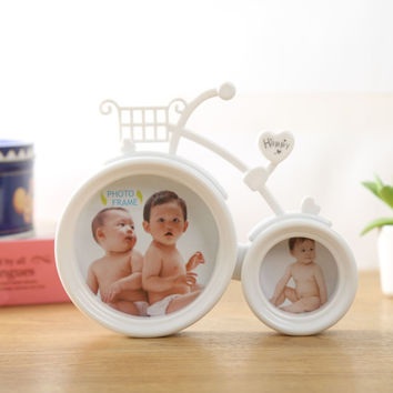 Lovely Bicycle Photo Frame Pink And White Colour With Two Pictures 6inch and 3inch For New Baby And Sweet Lover Gift