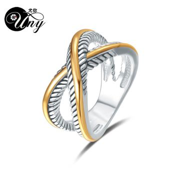 UNY Ring David Vintage Designer Fashion Brand Rings women Wedding Valentine Gift Ring Two-color plating Twisted Cable Wire Rings