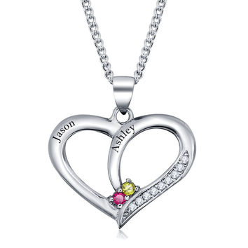 .925 Silver Personalized Crystal Heart Name Necklace w/ Birthstones