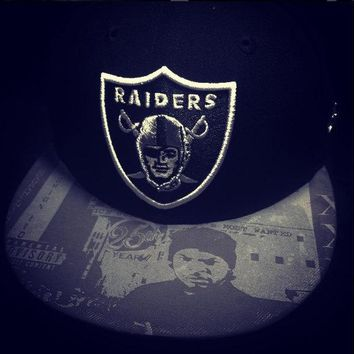 "Oakland Raiders authentic New Era snapback or fitted hat with ""Ice Cube"" custom"