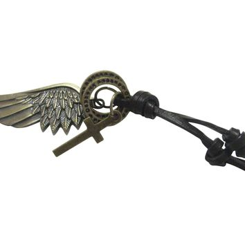 Bronze Toned Wing and Cross Necklace