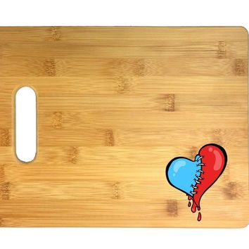 Stitch Heart Bleeding Red and Blue 3D COLOR Printed Bamboo Cutting Board - Wedding, Housewarming, Anniversary, Birthday, Mother's Day, Gift