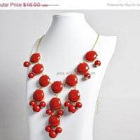 Bubble Bib Necklace Gold Tone Bubble Jewelry Red by GemPearls