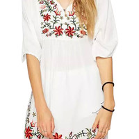 Floral Embroidered V-neck Pleated Mini Dress with Sleeve