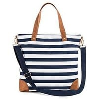 Women's Stripe Print Canvas Tote Handbag with Tan Trim and Removable Crossbody Strap - Merona™