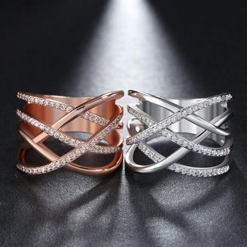 Wide Band Ring Micro Paved Crystal Criss Cross Design Cocktail Ring for Women
