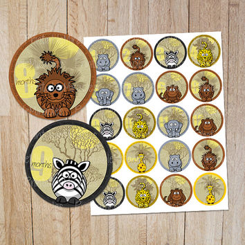Baby month milestone stickers / Safari themed printable baby monthy sticker / Zoo animals baby milestone circles / Jungle theme baby sticker