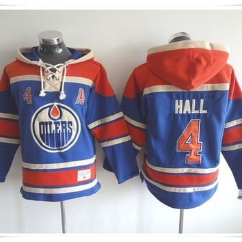 Hoodies Jerseys  ICE Hockey Oilers #4 HALL 14 Eberle 93 NUGENT-HOPKINS Blue Best quality stitching Jerseys Sports jersey