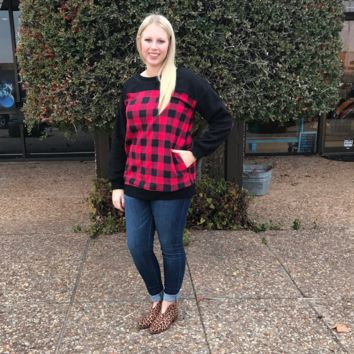 Black Top with Red Plaid