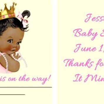 20 Princess Baby Shower Mint Favors Dark Skin