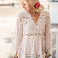 Whispering Crochet Tunic Top