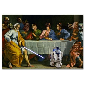 Star Wars - The Last Supper Wall Art Poster Canvas Art Cloth Fabric Print Wall Pictures For Living Room Decor