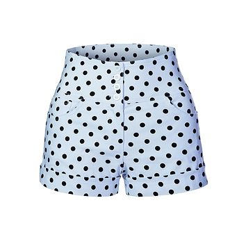 LE3NO Womens Stretchy High Waisted Polka Dot Print Sailor Pin Up Shorts with Pockets