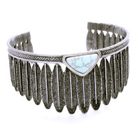 Boho Turquoise Feather Cluster Arm Cuff