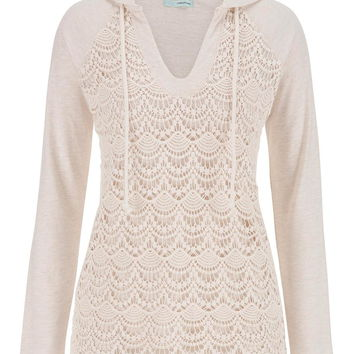 hooded pullover with lace