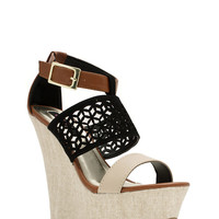 Lattice Rejoice Strappy Canvas Wedges