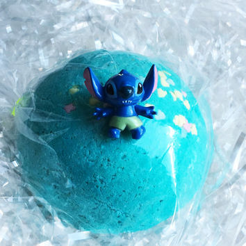 STITCH BATH BOMB Surprise Sprinkles and Stitch Toy Inside! Princess Party Favor Idea - 5 oz Bath Fizz - Lush Bath Bomb Lilo and Stitch