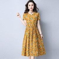 2017 Mori Girl Retro Midi Dress Women Summer New Fashion Linen Plus Size Flower Long Dresses Japanese Style Vintage Boho