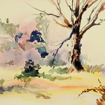Plein Air Landscape Watercolor Painting