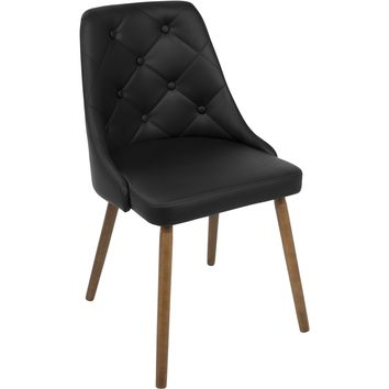 Giovanni Mid-Century Modern Dining Chair, Walnut & Black Quilted PU