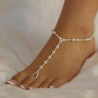 1pc Stylish Barefoot Sandal Bridal Beach Pearl Chain Anklet Foot Jewellery Hot = 56582