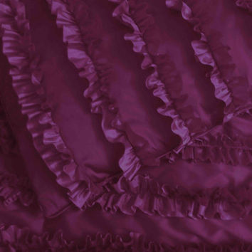 cotton dark purple  ruffled stripe quilted bedspread set with 2 pillows,twin quilt bedding coverlet luxury bedding twin coverlets