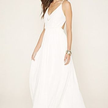 Crochet-Paneled Maxi Dress