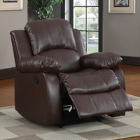 Coleford Brown Faux Leather Tufted Transitional Reclining Chair | Overstock.com