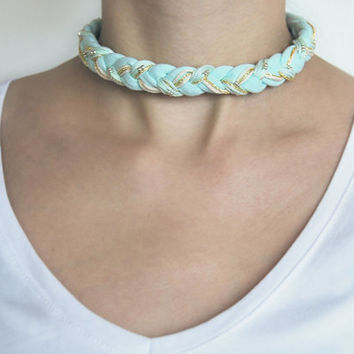 Mint braided choker necklace, mint choker, braided necklace, fabric necklace, mint necklace