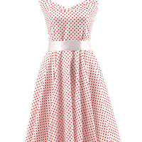 White Polka Dot Sleeveless Halter A-Line Mini Dress with Belt